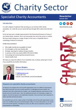 Charity Summer 2015 sector newsletter