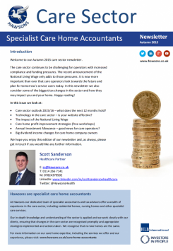 Care Home Autumn 2015 sector newsletter