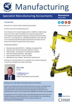 Manufacturing Autumn 2015 sector newsletter