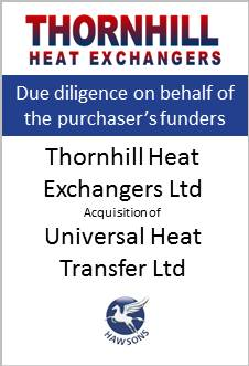 Deal Hawsons advises Thornhill Heat Exchangers Ltd in acquisition of Universal Heat Transfer Ltd