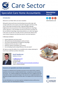 Care Home Winter 2015 sector newsletter