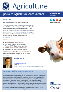 Agriculture Winter 2015 sector newsletter