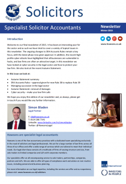 Solicitor Winter 2015 sector newsletter
