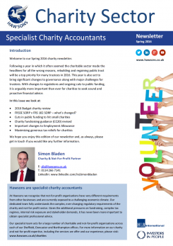 Charity Spring 2016 sector newsletter