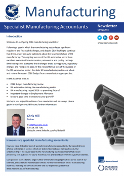 Manufacturing Spring 2016 sector newsletter