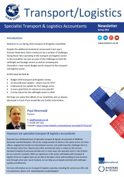 Transport and Logistics Spring 2016 sector newsletter