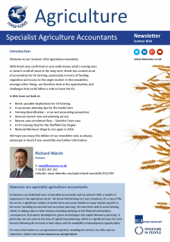 Agriculture Summer 2016 sector newsletter