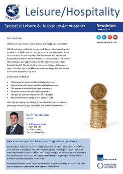 Hospitality Summer 2016 sector newsletter