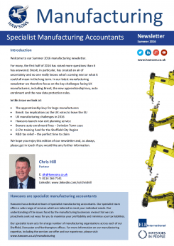 Manufacturing Summer 2016 sector newsletter