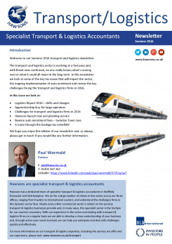 Transport and Logistics Summer 2016 sector newsletter