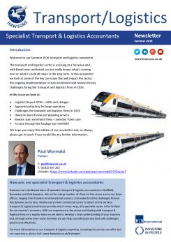 Transport and Logistics Summer 2016 sector newsletter